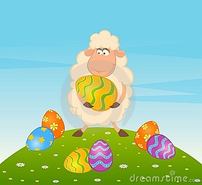 Easter sheep with colored egg