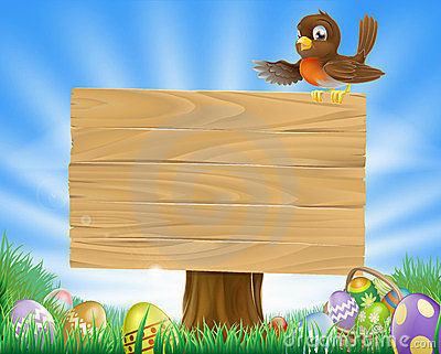 Easter sign with bird and eggs