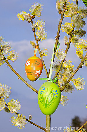 Easter spring background eggs hang pussy-willow
