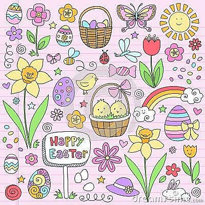 Easter Spring Notebook Doodles Vector Set