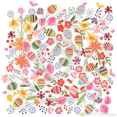 Free Easter Square Pattern With Contour Flowers And Eggs On White. Stock Photos - 66170013