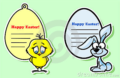 Easter stickers with the chicken  vector