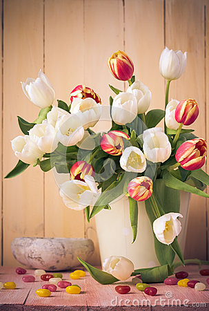 Free Easter Still Life Bouquet Spring Tulips Stock Photos - 52652343