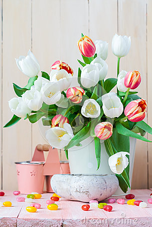 Free Easter Still Life Bouquet Spring Tulips Royalty Free Stock Photo - 52652355