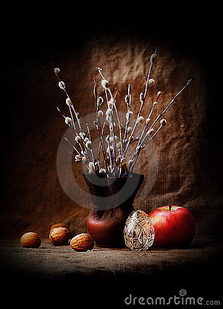 Free Easter Still Life With Pussy Willow Stock Photography - 12905892