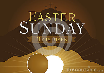 easter sunday he is risen stock vector image 50083744