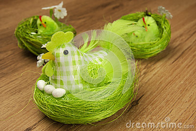 Easter table decoration with chicken
