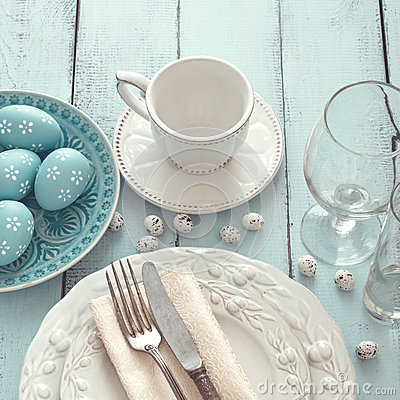Free Easter Table Setting Stock Photos - 52136013