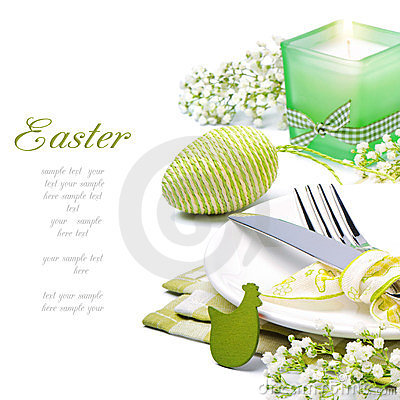 Free Easter Table Setting With Candle And Flowers Royalty Free Stock Image - 23646726