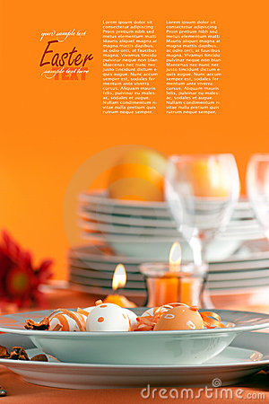 Free Easter Table Setting With Copyspace Royalty Free Stock Photography - 23048447