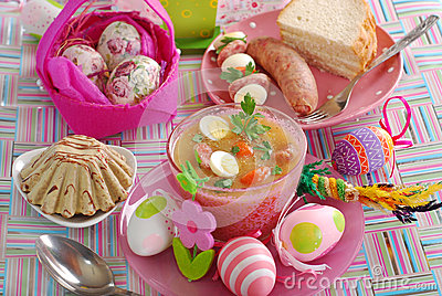 Easter table with traditional polish dishes