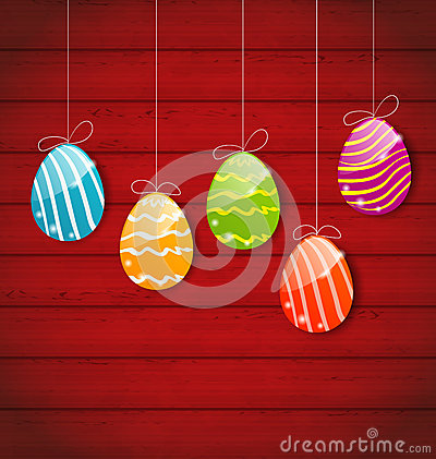 Free Easter Three Ornamental Colorful Eggs On Wooden Background Stock Images - 51656864