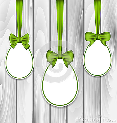 Free Easter Three Papers Eggs Wrapping Green Bows Royalty Free Stock Photos - 51656858