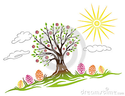 Easter, tree, eggs