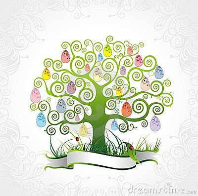 Easter tree with floral background