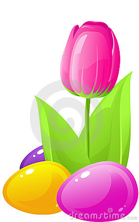 Easter. Tulip and colored eggs