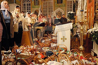 Easter in Ukraine. In expectation of a priest. Editorial Image