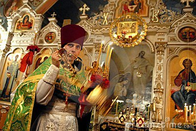 Easter in Ukraine. Priest ruled the service. Editorial Photography
