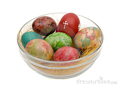 Easter varicoloured eggs
