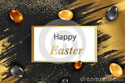 Easter vertical border with gold ornate eggs and confetti. Vector illustration Vector Illustration