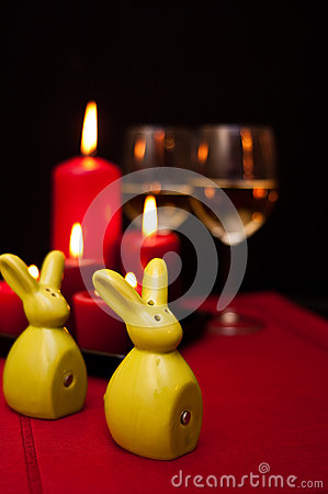 Easter wine on red food still life