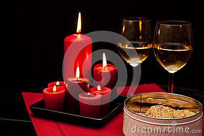 Cookies candles and wine