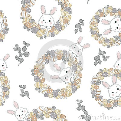 Easter wreath with easter eggs hand drawn seamless pattern on white background. Stock Photo