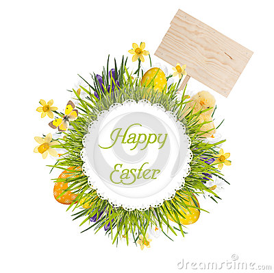 Free Easter Wreath With Blank Board, Baby Chicken, Egg S And Flowers Royalty Free Stock Photos - 29894708