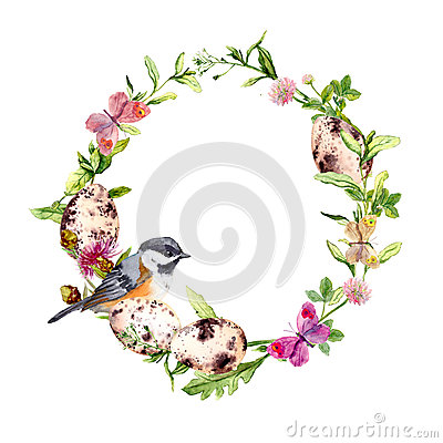 Free Easter Wreath With Eggs, Bird In Grass, Flowers. Round Frame. Watercolor Stock Photo - 89965760