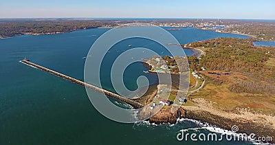 Eastern Point Lighthouse, Cape Ann, MA, USA stock video footage