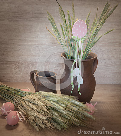 Free Easters Still Life From Painted Eggs, Raw Wheat Royalty Free Stock Photo - 66454465