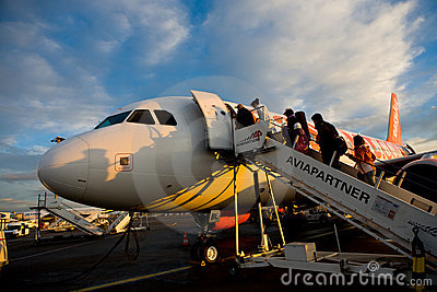 Easy Jet plane stuck on land Editorial Photo