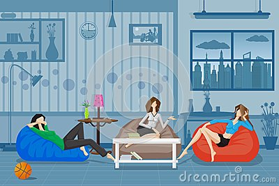 Women Chatting and Relaxing in Couch