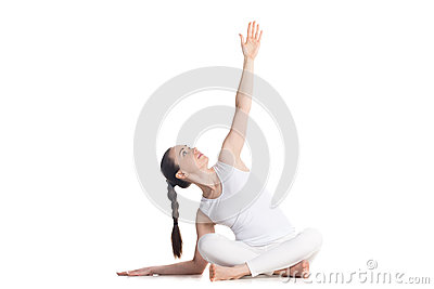 easy yoga pose with side bend stock photo  image 57183767