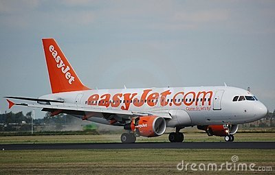 EasyJet Airbus 319 lands Editorial Image