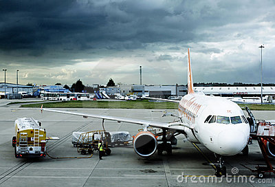Easyjet plane refueling Editorial Photography