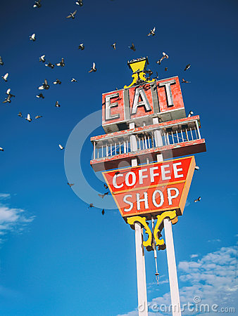 Free Eat Coffee Shop Sign Stock Images - 91697214