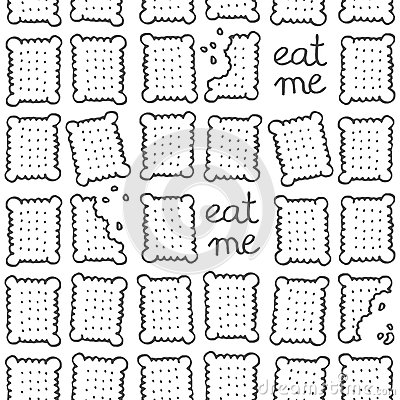eat me square cookies monochrome