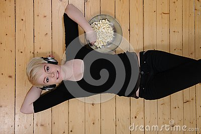 Eat popcorn and listen to music