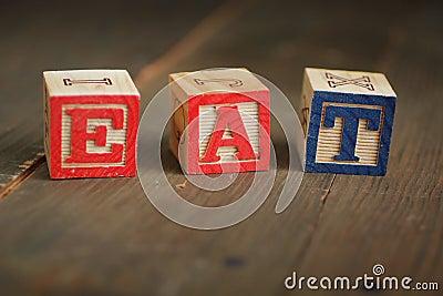 Eat wood blocks