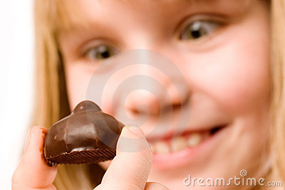 Eating chocolate candy
