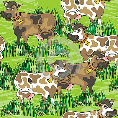 Eating cows on green farm life seamless pattern