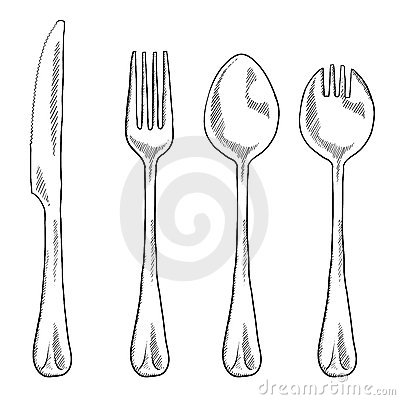 Eating utensils drawing