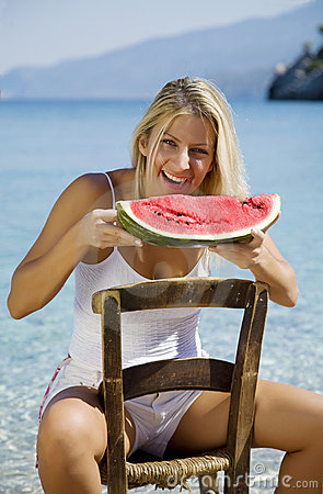Free Eating Water Melon Stock Images - 6543164