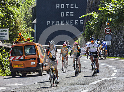 Amateur Cyclists on the Roads of Le Tour de France Editorial Image