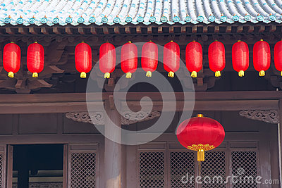 Eave and red lanterns