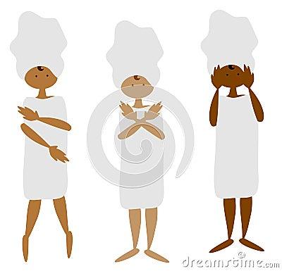 Ebony women in towels set