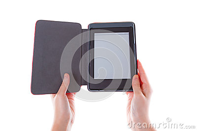 Ebook reader in hands with blank screen