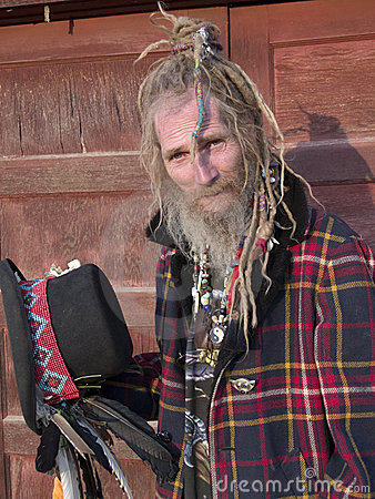 Eccentric older gentleman with a special hairdo