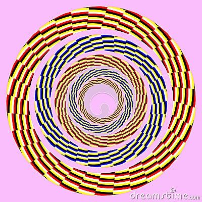 Eccentric rotating circle. optical illusion